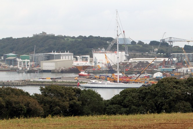 Superyacht M5 at Pendennis in Falmouth, UK