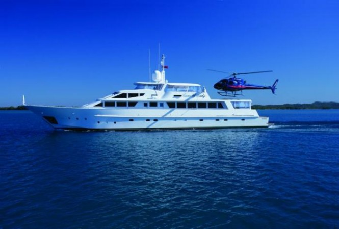 The 115 foot Benetti Emerald Lady is the largest luxury boat at the Expo