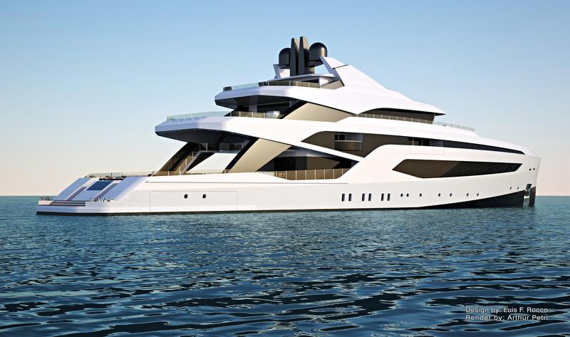 74m superyacht LOFT concept - aft view