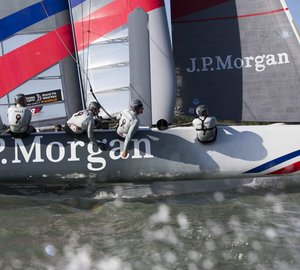 Sir Ben Ainslie and his AC45 catamaran at upcoming London Boat Show