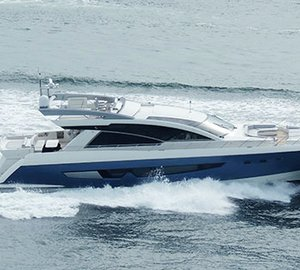 Photos of Cheoy Lee's new Alpha 87 Express Sportbridge Yacht at full speed
