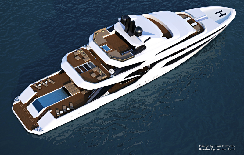 LOFT74 superyacht concept from above