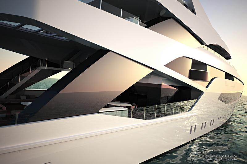 Luxury yacht LOFT concept - side view