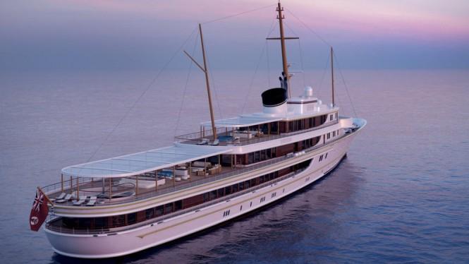 116m Classic Yacht Concept - aft view