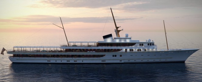 116m luxury yacht Classic design - side view