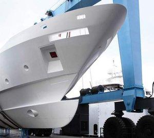 First F-125 Yacht hull arrives at Benetti yard in Italy's Viareggio