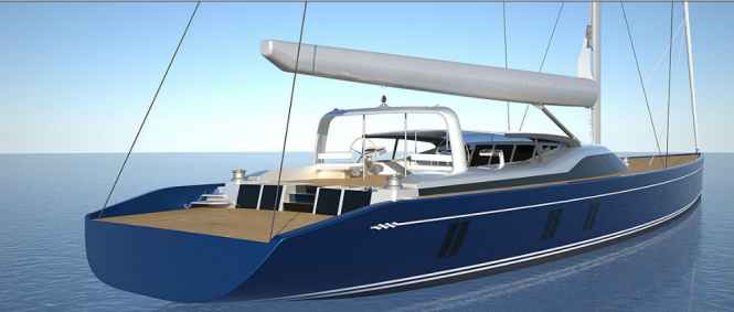 46m Tripp-designed sailing yacht - aft view