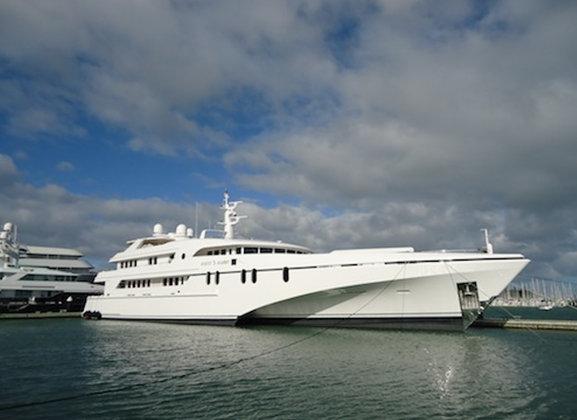 61m mega yacht White Rabbit Echo hauled at Titan Marine