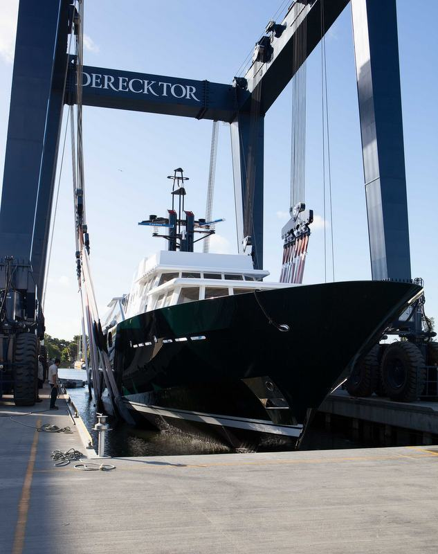 Re-launch of the 150ft Feadship charter yacht HIGHLANDER (ex The Highlander) at Derecktor Florida
