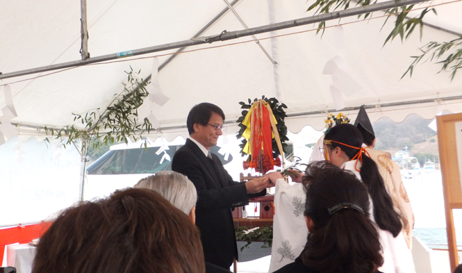Traditional Japanese Shinto ceremony to launch and christen AGORA Yacht