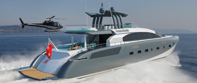 Luxury yacht AeroCruiser 38 II FLY at full speed