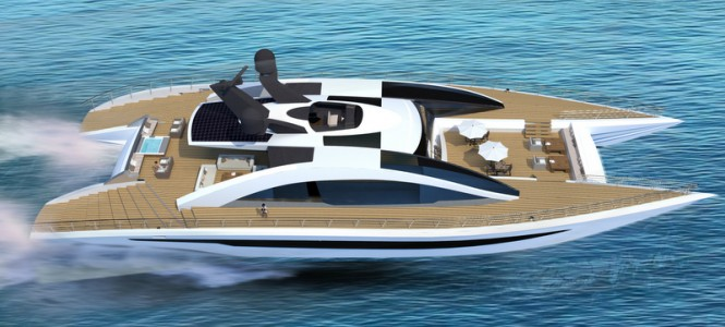 Luxury yacht Equinox concept at full speed