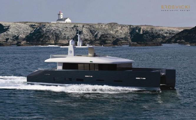 Open fly-bridge version of superyacht KingCAT 80 design at a full stretch