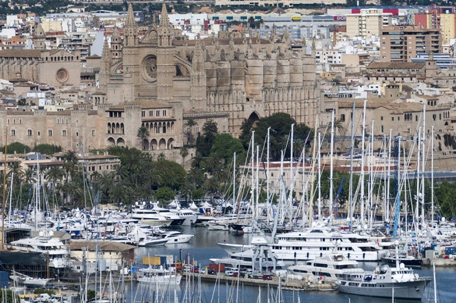 Palma Superyacht Show 2013 seen in front of the Cathedral in Palma - Image courtesy of Palma Superyacht Show