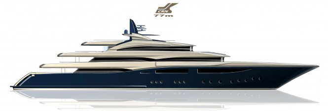 Rendering of new 77m CRN superyacht