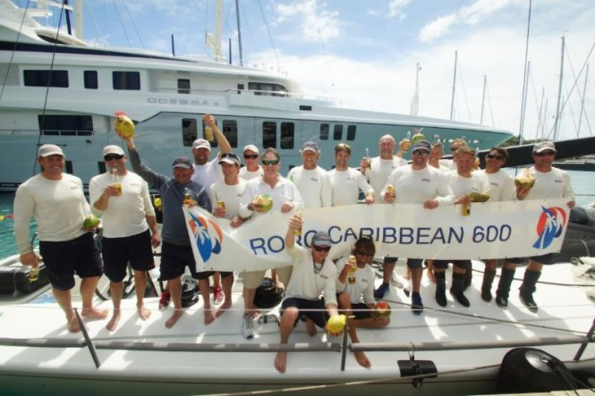 George Sakellaris' Shockwave crew celebrate dockside in Antigua after their victorious race   Credit: Kevin Johnson/kevinjohnsonphotography.com