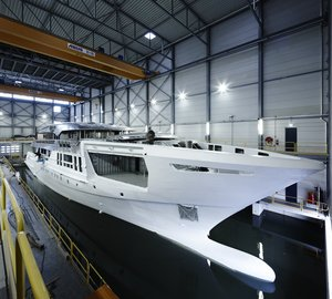Hull and superstructure of 55m Heesen motor yacht AZAMANTA (YN 17255) joined together