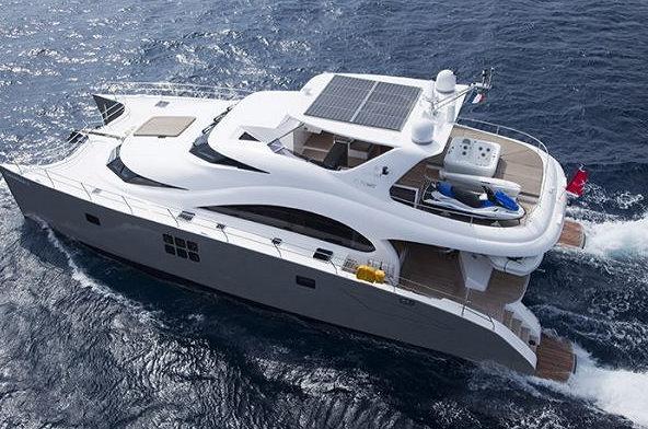 70 Sunreef Power charter yacht DAMRAK II from above