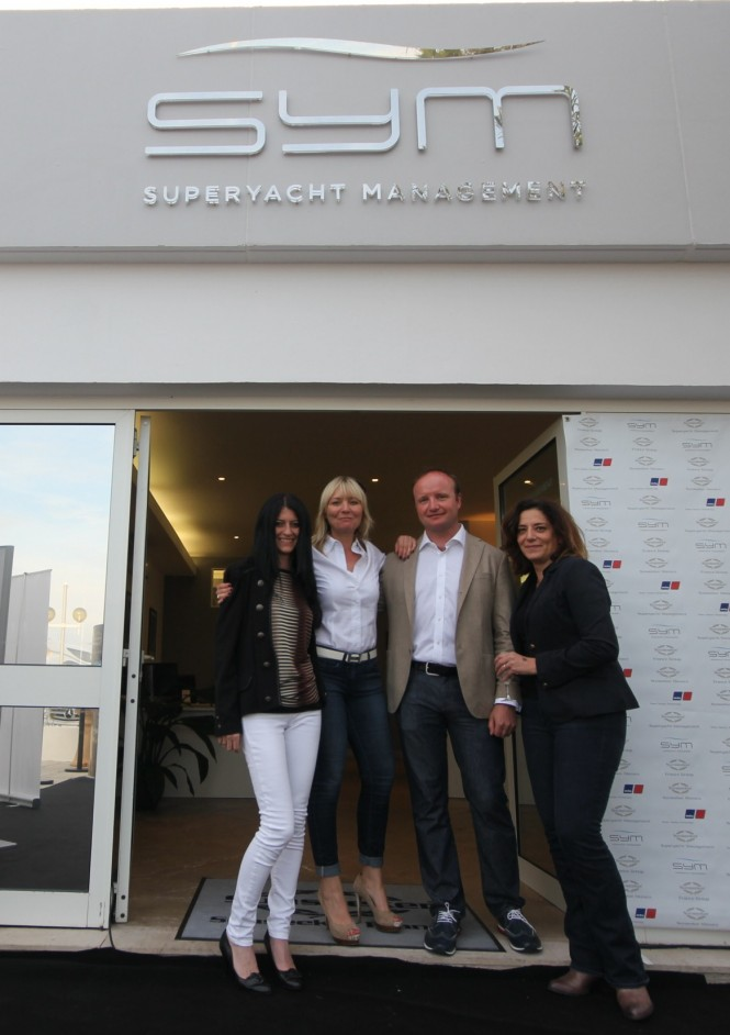 Ben Young, MD of SYM, pictured with Warranty Assistant Mylene Pedretti (L), Commerical Director Lindsay Hutchinson (M) and Sales Assistant Gloria Erre (R)