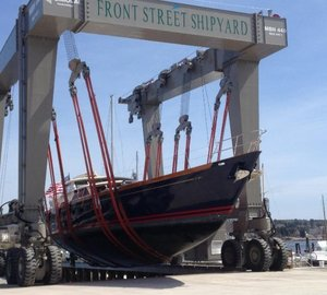 Sailing yacht MARAE and SYMMETRY Yacht at Front Street Shipyard for refit