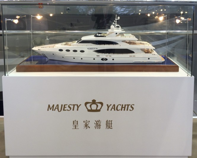 Luxury yacht Majesty 125 scale model on display at the event