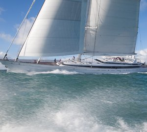 Remodelled sailing yacht M5 (ex Mirabella V) leaves Pendennis