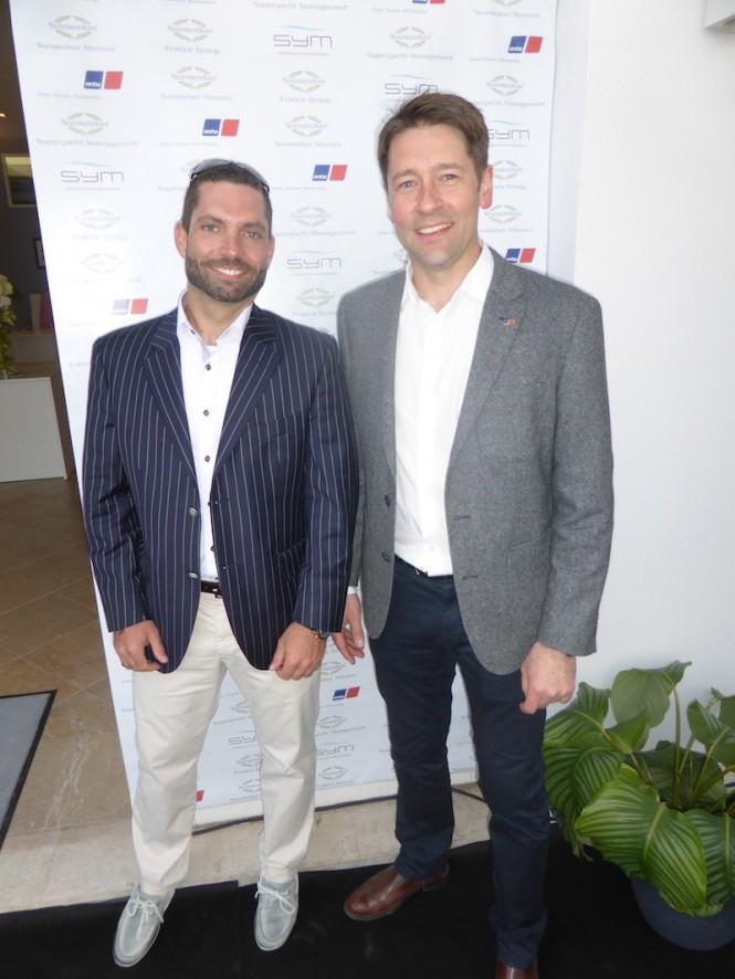 MTU's Gabriel Christ (L) and Darren Barnett (R) joined Sunseeker representatives at the Captains Party