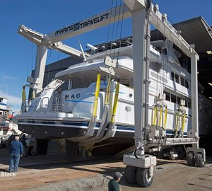 Photos of newly refitted 130ft super yacht MAGIC relaunched by Front Street Shipyard