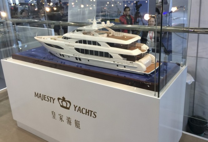 Superyacht Majesty 135 scale model on display at the event