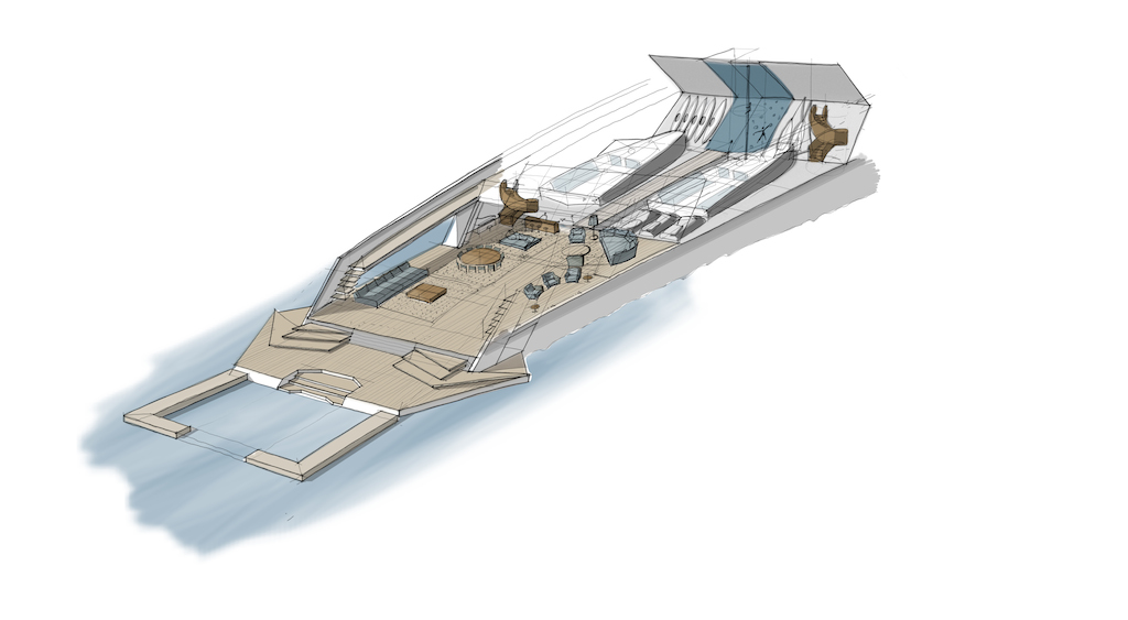 Luxury Yacht 90m X-KID STUFF - HANGAR DECK - credits Pastrovich