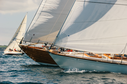 Luxury sailing yachts competing in the Pendennis Cup 2014 on Day 1