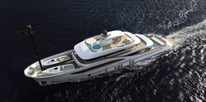 Luxury yacht Z164 from above