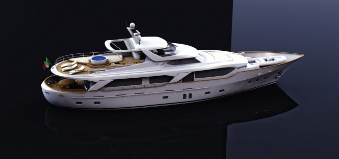 Rendering of BSD 108RS superyacht Blue Berry by Benetti Sail Division