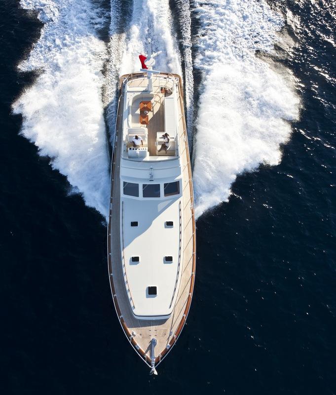 V77 Flybridge Yacht from above - Photo by Alberto Cocchi