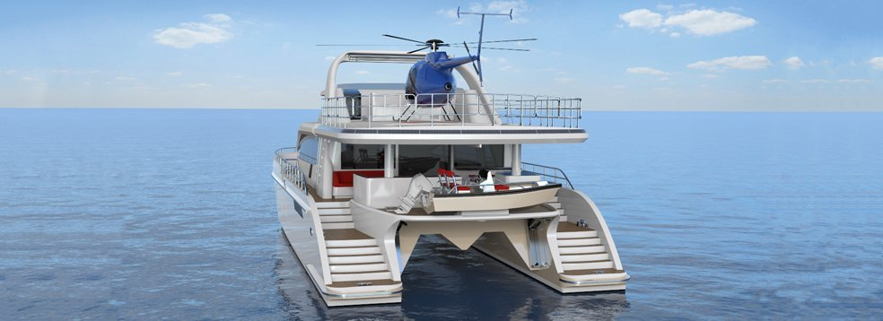 24m Jutson Exploration HeliCat Yacht - aft view