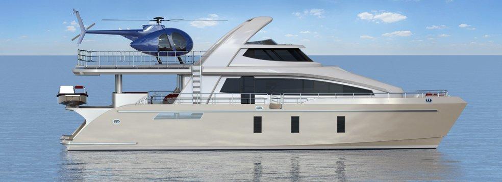 24m Jutson Exploration HeliCat superyacht - side view