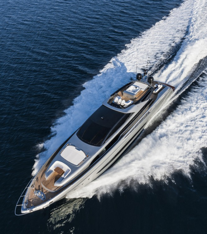 Aerial view of Mythos Yacht underway - Photo by Alberto Cocchi