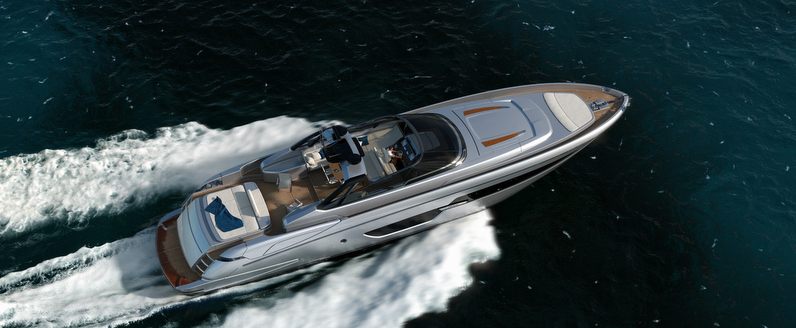 Aerial view of superyacht Riva 88 Miami at full speed