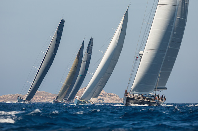 After staggered starts the fleet compressed as they rounded the islands of La Maddalena Jeff Brown | Superyacht Media