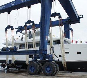 Launch of CdM Nauta Air 86' motor yacht YOLO sold by Phuket's Lee Marine