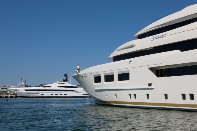Motor Yacht SARAMOUR with the newly launched Super Yacht YALLA in the background - CRN SHIPYARD