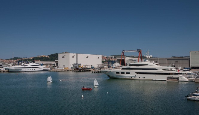 SARAMOUR yacht and the recently launched YALLA yacht at the CRN Shipyard in Ancona