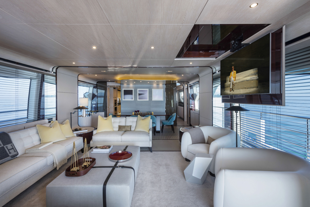 Azimut grande 95rph yacht spacious salon yacht charter superyacht news for Top residential interior design firms