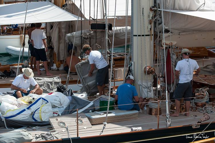 Crew aboard Shamrock V Yacht - Photo by James Robinson Taylor