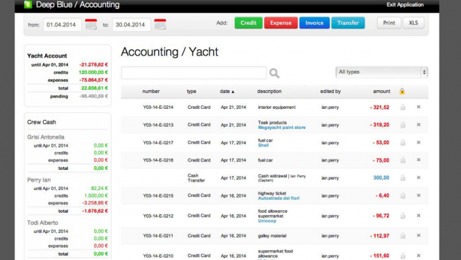 Deep Blue Yacht Management Software Example