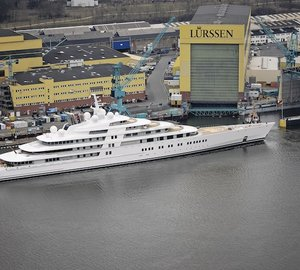 Launch of 103m motor yacht Project QUANTUM BLUE at Lurssen