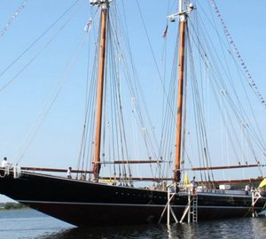 Launch of 43m sailing yacht COLUMBIA at Eastern Shipbuilding