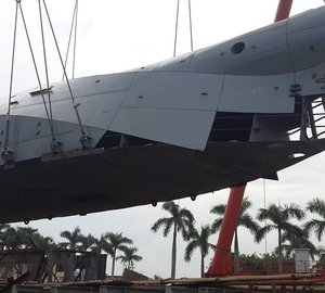 Photos from construction of first motor yacht Bering 80 by Bering Yachts