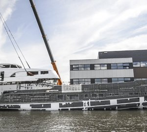 Hull and superstructure of Mulder 34m superyacht BN 100 joined together