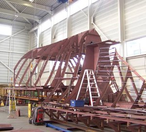 Photos: Progress on the bow construction of motor yacht SEVEN SINS at Balk Shipyard